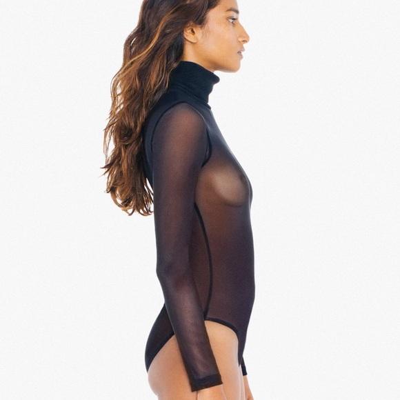 American Apparel - Sheer Mesh Turtleneck Bodysuit 72f26a853696